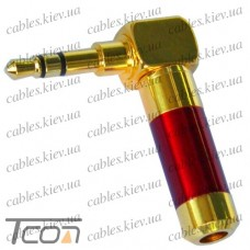 Штекер 3,5мм стерео угловой, HQ, gold, красный, металл. корпус, Tcom