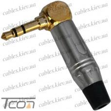 "Штекер 3,5мм стерео, угловой ""PowerCon"", gold, корпус металл (красный/чёрный)"