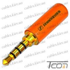 """Штекер 3,5мм 4C """"Sennheiser"""", металл. корпус, золотистый"""