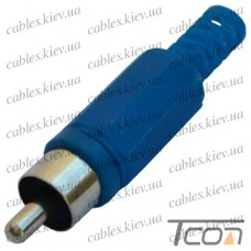 Штекер RCA под шнур, корпус пластик, синий, Tcom
