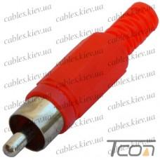 Штекер RCA под шнур, корпус пластик, красный, Tcom