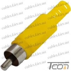 Штекер RCA под шнур, корпус пластик, жёлтый, Tcom