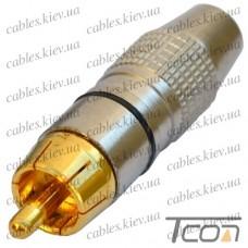 Штекер RCA silver-gold, диам.-6,5мм, корпус_металл, чёрный, Tcom