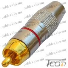 Штекер RCA silver-gold, диам.-6,5мм, корпус_металл, красный, Tcom