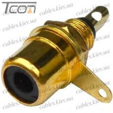 Гнездо RCA монтажное, металл gold, чёрное, Tcom