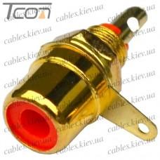 Гнездо RCA монтажное, металл gold, красное, Tcom