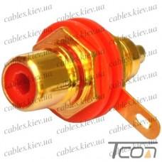Гнездо RCA монтажное, корпус металл, gold, красное, Tcom