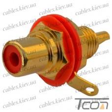 Гнездо RCA монтажное, корпус металл, gold, красное (Тип1), NEUTRIK