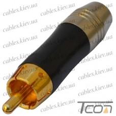 "Штекер RCA ""Tcom"", gold, диам.-6,5мм, металл, чёрный"