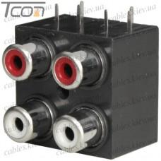 Штекер RCA профессиональный, gold, на кабель диам.-6,5мм, тип 4 серебристый (набор 4шт.), PROSOUND