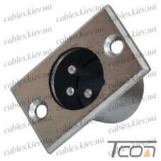 Штекер CANON (XLR) 3pin, монтажный, корпус_металл, Tcom