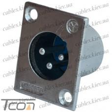 "Штекер CANON (XLR) ""Tcom"", 3pin, монтажный, корпус металл"