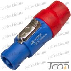 Штекер Спикон 4-х контактный (NL4FC), под шнур, корпус пластик, красно-синий, NEUTRIK