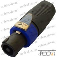 Штекер Спикон 4-х контактный под шнур, корпус пластик, NEUTRIK