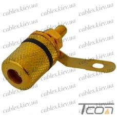 Гнездо акустическое Banan монтажное, gold, корпус металл, чёрное, Tcom