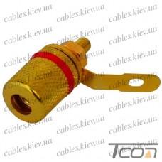 Гнездо акустическое Banan монтажное, gold, корпус металл, красное, Tcom