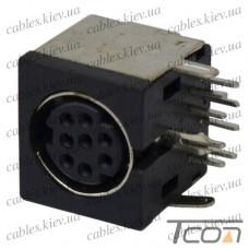 Гнездо mini DIN 8 pin монтажное, корпус пластик, Tcom