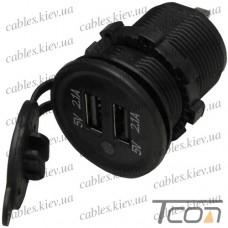Гнездо USB двойное врезное 5V 2,1А с индикатором и крышкой