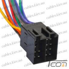 Разъём автомагнитолы ISO (штекер) сдвоенный,с кабелем 0,2 метра, Tcom