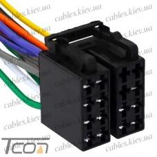Разъём автомагнитолы ISO (гнездо) сдвоенный, с кабелем 0,2 метра (алюминиевый), Tcom