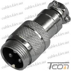 "Разъём MIC 343, ""Tcom"", (штекер), под кабель, 3pin, диам.-16мм"