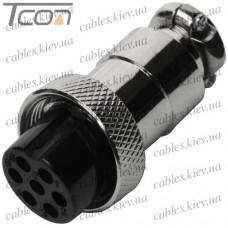 """Разъём MIC 327, """"Tcom"""", (гнездо), под кабель, 7pin, диам.-16мм"""