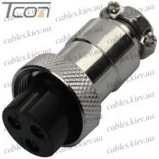 Разъём MIC 323 mini (гнездо), под кабель, 3pin, диам.-12мм, Tcom