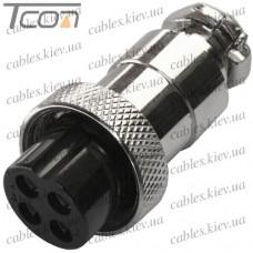 Разъём MIC 324 mini (гнездо), под кабель, 4pin, диам.-12мм, Tcom