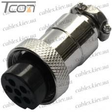 Разъём MIC 326 mini (гнездо), под кабель, 6pin, диам.-12мм, Tcom