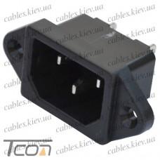 Штекер сетевой 3pin, монтажный, корпус пластик, Tcom