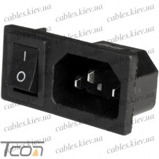 Штекер сетевой 3pin, монтажный, с клавишей, корпус пластик, Tcom