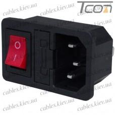 Штекер сетевой 3pin, монтажный, с клавишей и предохранителем, корпус пластик, Tcom