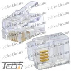 Штекер телефонный 6р4с (RJ-11), Tcom