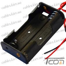 Корпус для двух батареек типа АА 30х58мм, с проводами, Tcom