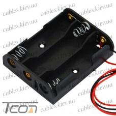 Корпус для трёх батареек типа АА 46х58мм, с проводами, Tcom