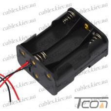 Корпус для шести батареек типа АА 29х48х58мм, с проводами, Tcom
