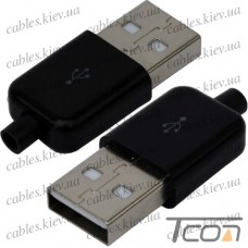 Штекер USB тип A под шнур, бакелит, чёрный, Tcom