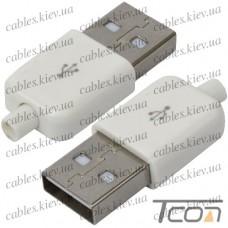 Штекер USB тип A под шнур, бакелит, белый, Tcom
