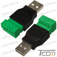 Штекер USB тип A, c клеммной колодкой (под винт)