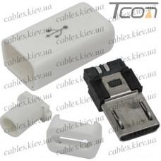 Штекер micro USB 5pin, под шнур, бакелит, белый, Tcom