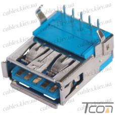 Гнездо USB 3.0 тип A (90°), монтажное, Tcom