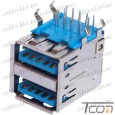 Гнездо USB 3.0 тип A двойное (90°), монтажное, Tcom