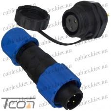 Комплект разъёмов герметичных 16мм 3pin (штекер кабельный + гнездо монтажное), Tcom