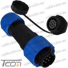 Комплект разъёмов герметичных 16мм 7pin (штекер кабельный + гнездо монтажное), Tcom