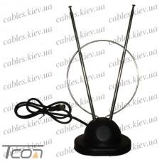Антенна комнатная ТВ универсальная (подставка+кольцо), с ТВ штекером, Tcom