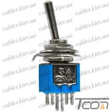 Тумблер SMTS-202 (ON-ON) 6-и контактный, 3A, 250VAC, Tcom