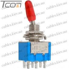 Тумблер MTS-202 (ON-ON) 6-и контактный, 3A, 250VAC, Tcom