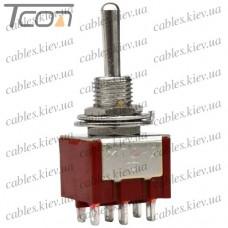 Тумблер MTS-223 (ON)-OFF-(ON) 6-и контактный, 3A, 250VAC, Tcom