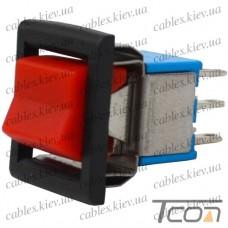 Тумблер с клавишей RLS-202-E5 (ON-ON) 6-и контактный, 3A, 250VAC, красный, Tcom