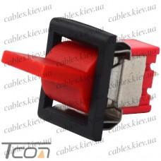 Тумблер с клавишей RLS-103-F1 (ON-OFF-ON) 3-х контактный, 3A, 250VAC, красный, Tcom